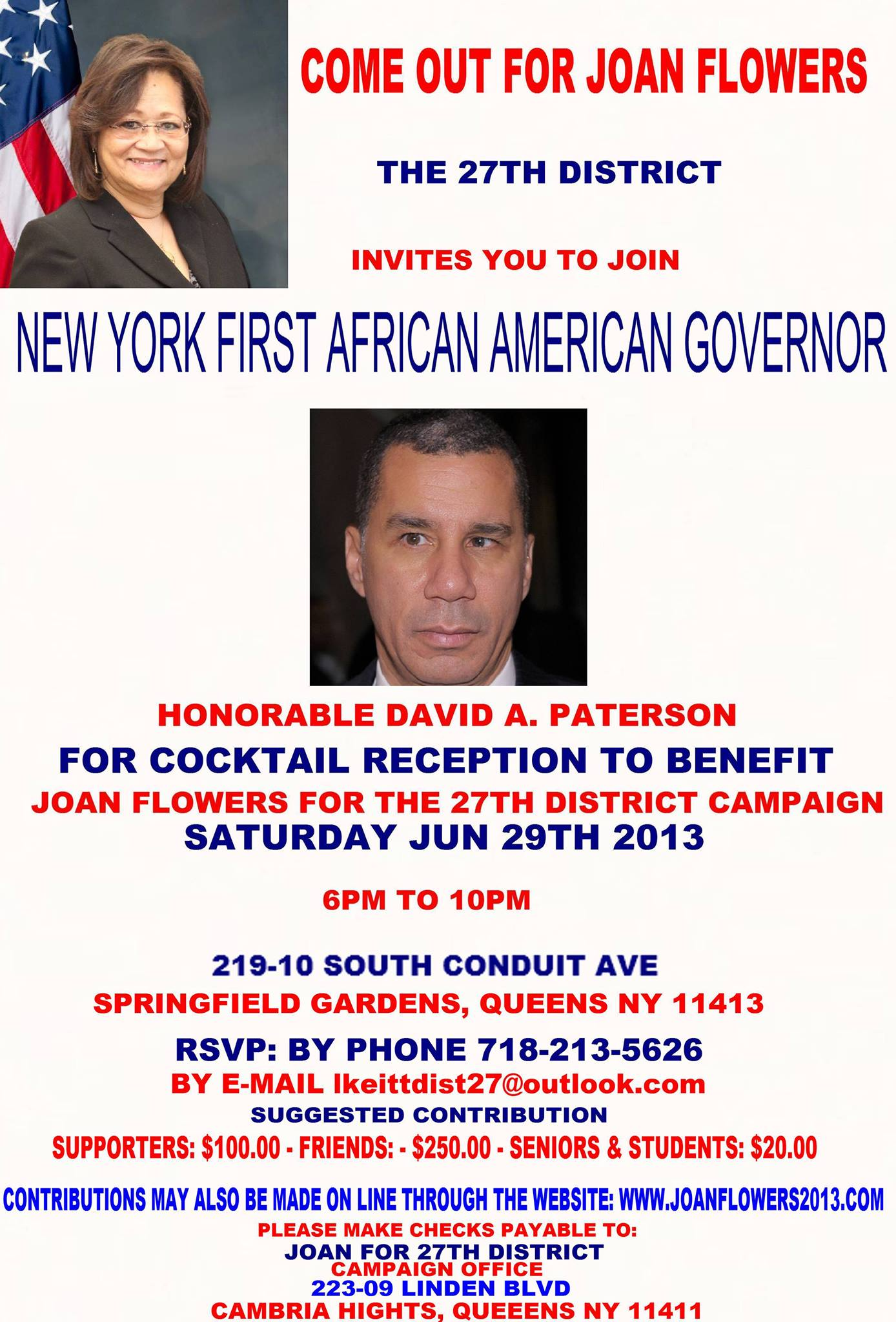 Meet And Greet Fmr Governor David Paterson In Support Of Joan