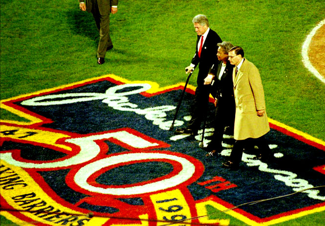 President Bill Clinton became the first sitting President to attend a baseball game at Shea on April 15, 1997. President Clinton along with Major League Baseball Commissioner Bud Selig and Jackie Robinson's widow, Rachel Robinson, announced the retirement of Jackie Robinson's uniform number 42 throughout major league baseball.